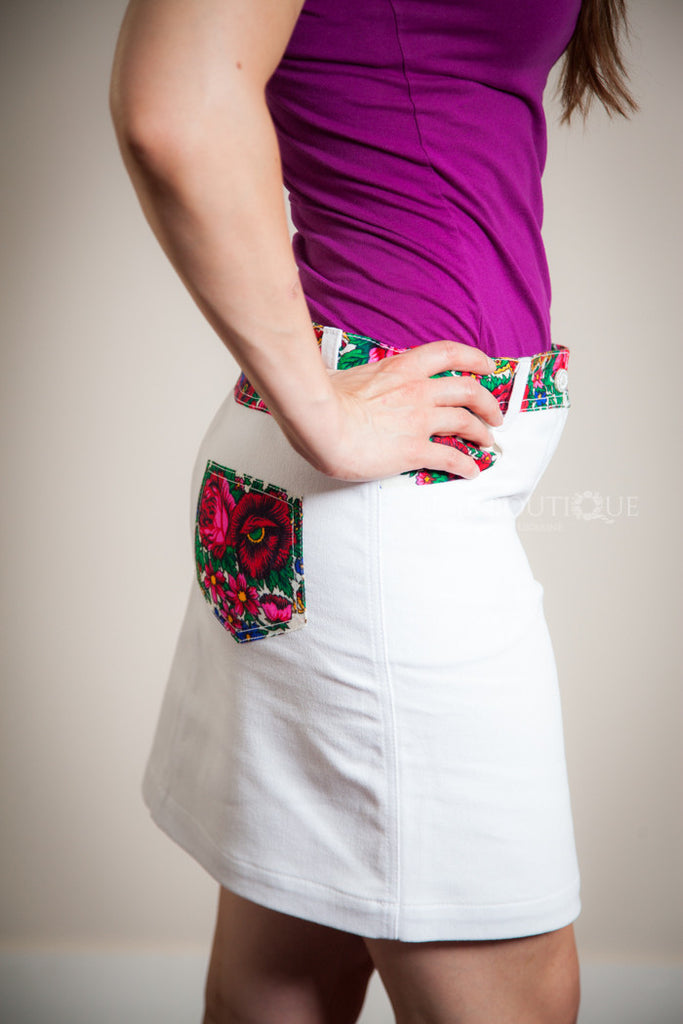 White Jean Skirt with Hustka Accent