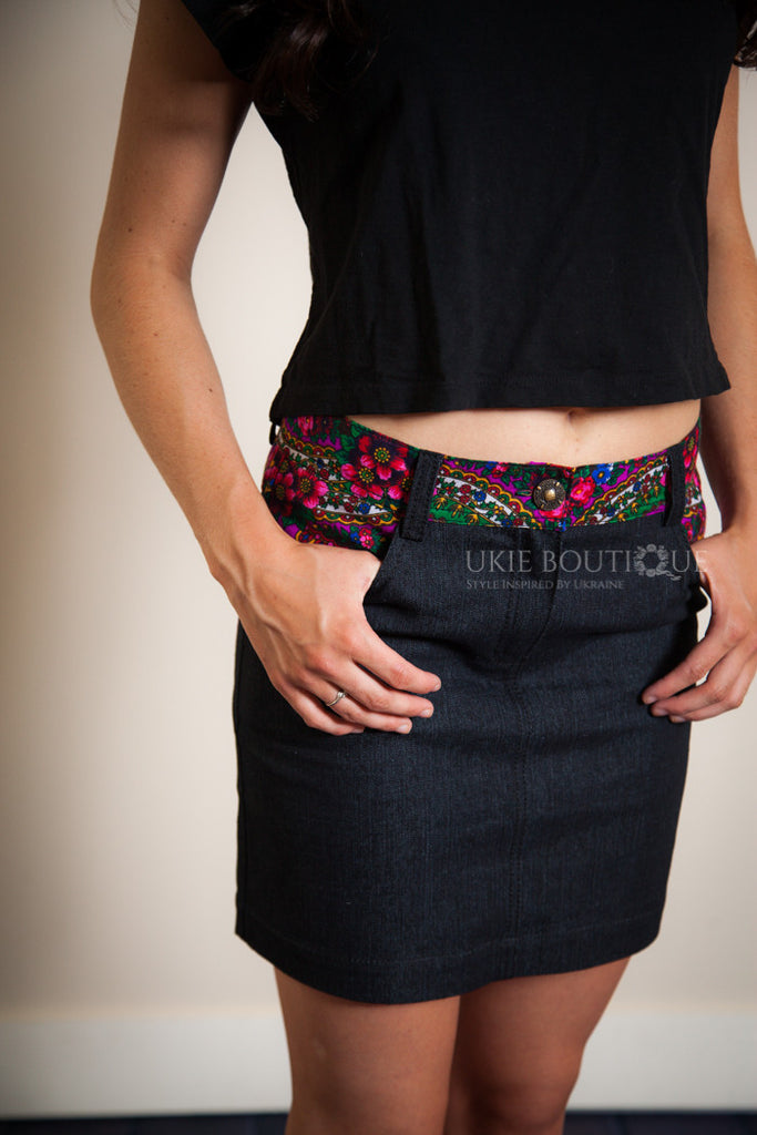Dark wash Jean Skirt with Fuscia Hustka Accent - Ukie Boutique