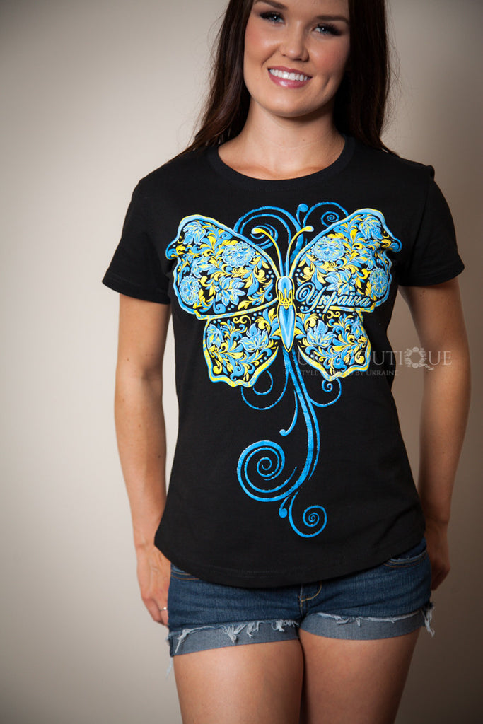 Black T-shirt with Large Blue & Yellow Butterfly