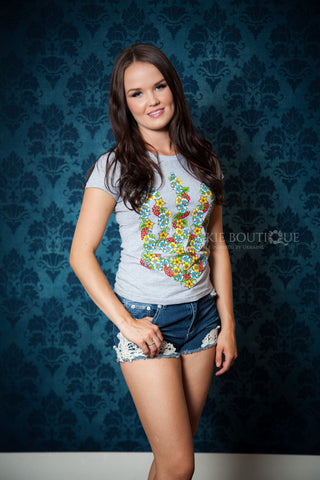Short sleeve T-shirt with Blue & Yellow Embroidery