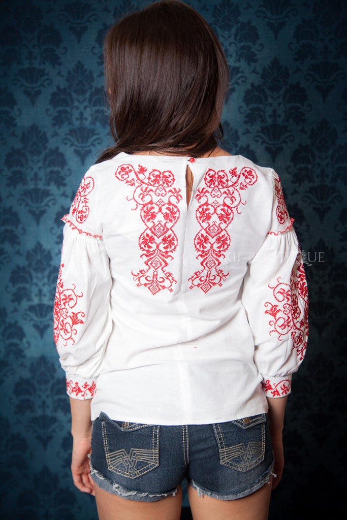 White Boho Blouse with Red Embroidery Accent - Ukie Boutique