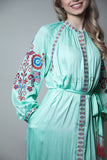 Teal green vyshyvanka dress with red and blue embroidery