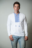 Men's long sleeve white T-shirt with blue embroidery
