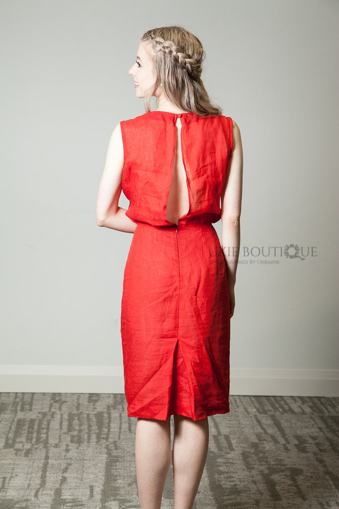 Red Short Linen dress