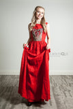 Red long Linen dress with embroidery