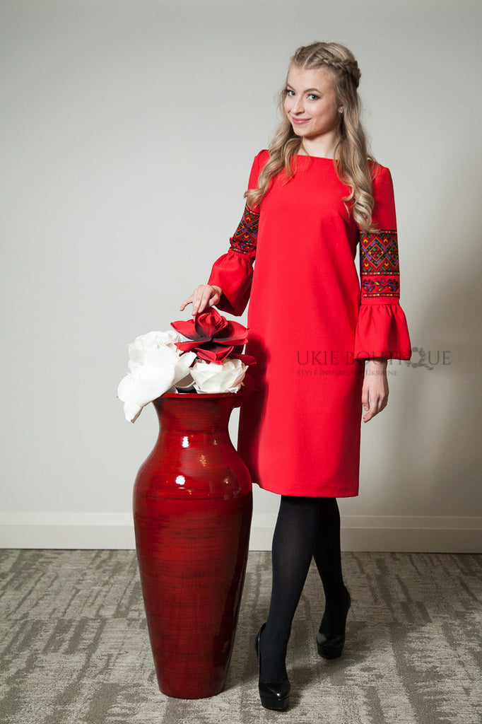 Cocktail dress with embroidered flared sleeves