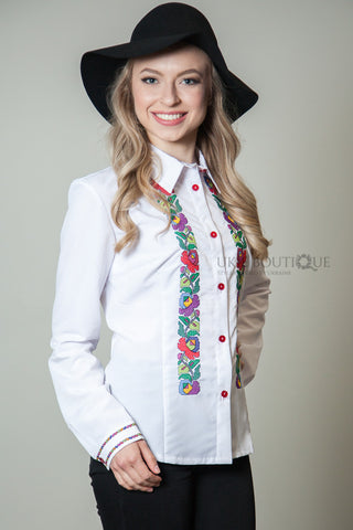 White Button up Blouse with Petrykivka flower accent