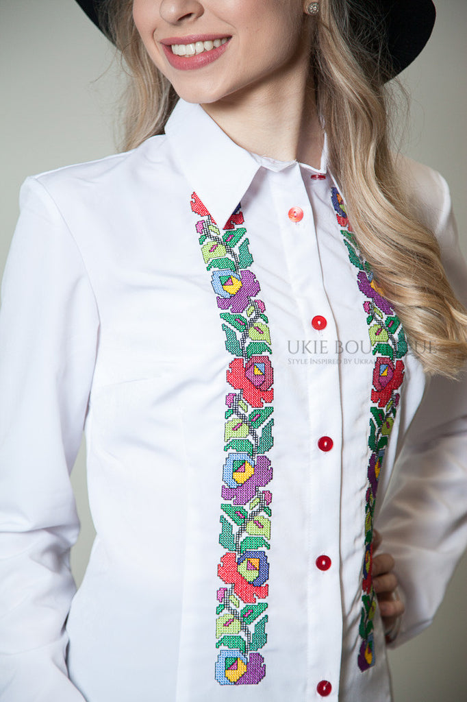 Collared blouse with colourful embroidery