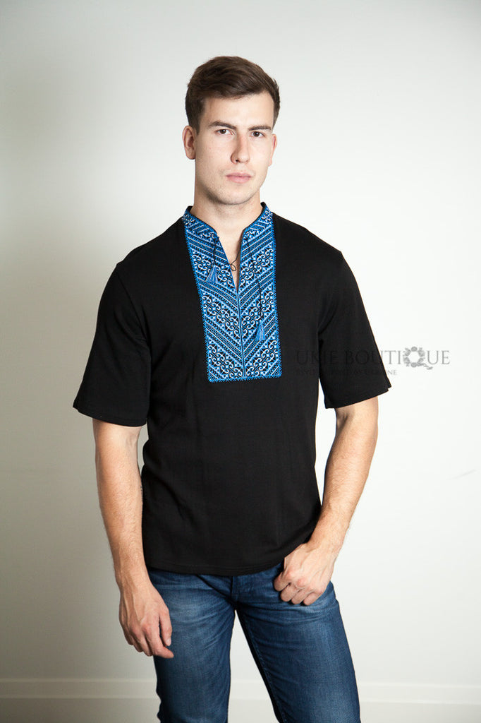 Black T-shirt Blue Embroidery
