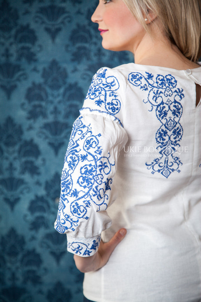 White Boho Blouse with Blue Embroidery Accent - Ukie Boutique