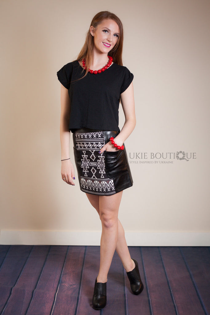 Black Faux Leather Mini Skirt with white Embroidery Design - Ukie Boutique