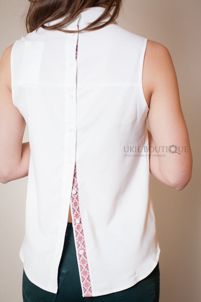 Sleeveless backwards White collared blouse with hidden embroidery accent - Ukie Boutique