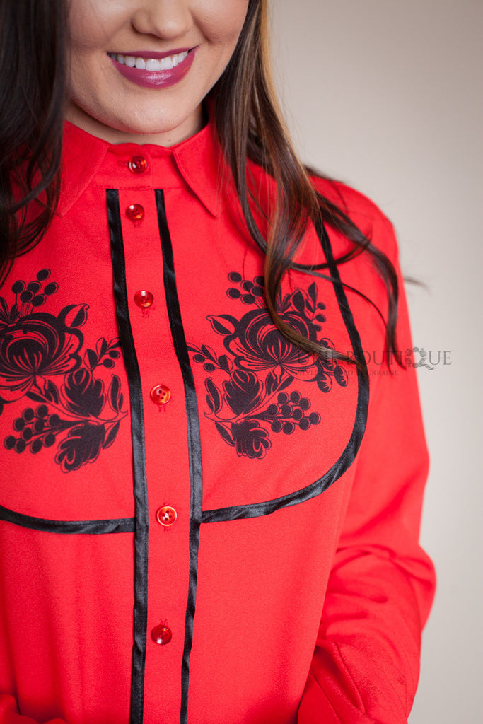 RED BUTTON UP BLOUSE WITH PETRYKIVKA FLOWER ACCENT - Ukie Boutique