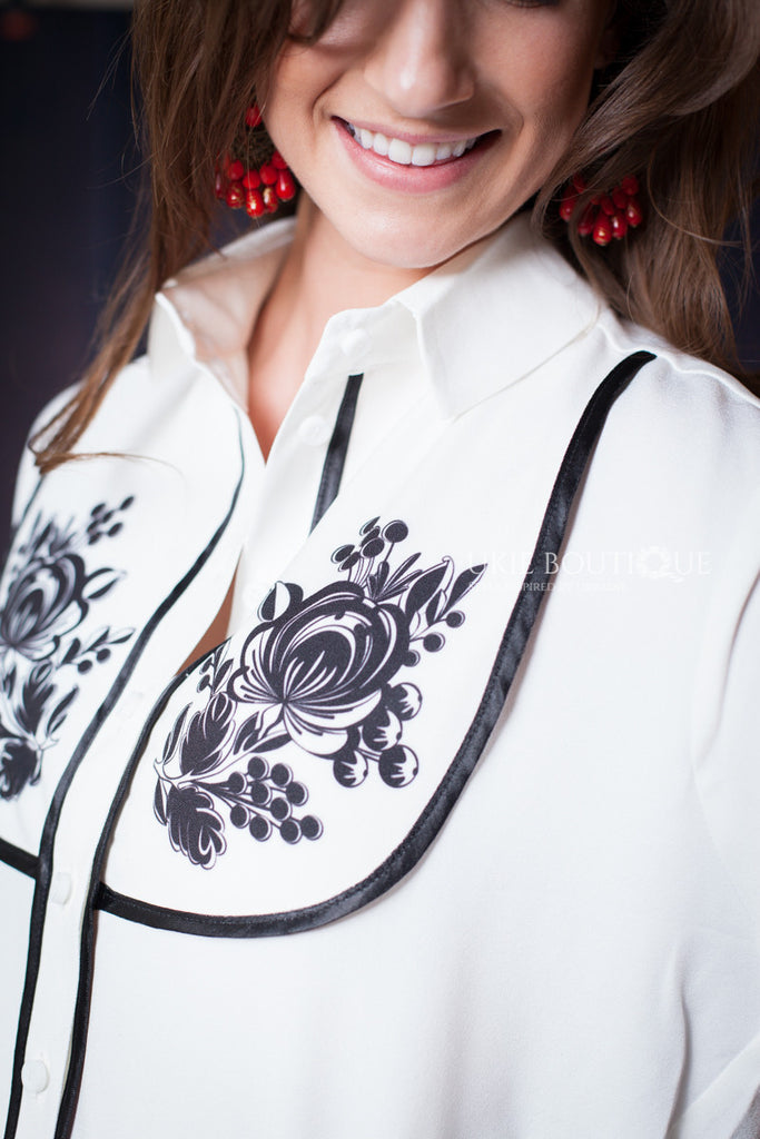 White Button up Blouse with Petrykivka flower accent - Ukie Boutique
