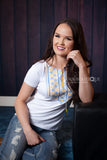 White T-shirt with Blue & Yellow Embroidery - Ukie Boutique