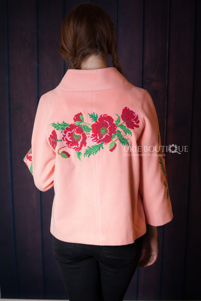Short Peach Coat -Poppy embroidery accent - Ukie Boutique