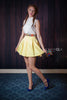 Yellow Mini A-Line Skirt with Folk Accent Waist - Ukie Boutique