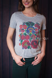 Grey T-shirt- Petrykivka Flower Design - Ukie Boutique