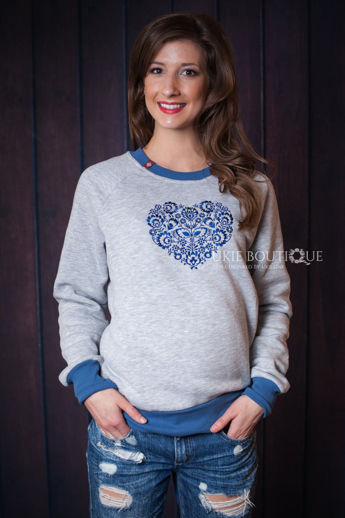 "Grey sweatshirt with blue  ""серце"" (heart) design - Ukie Boutique"