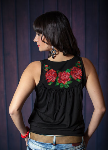 Black with Red Rose Embroidered Tank Top Corset style