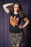 Orange Embroidery Print TRYZUB T-SHIRT - Ukie Boutique