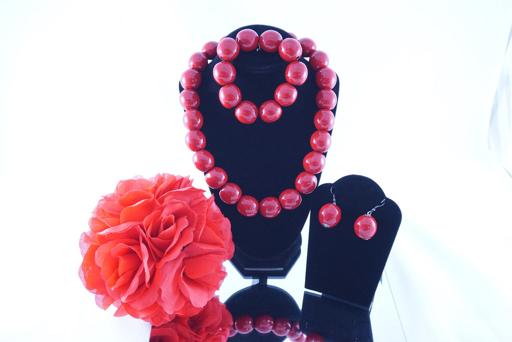Large Red Cherry Beaded Necklace, Bracelet & Earring set - Ukie Boutique
