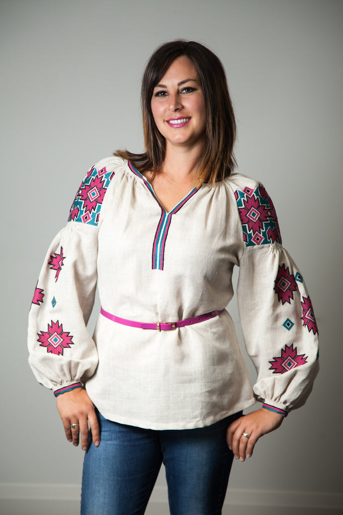 Blouse with raspberry pink & jade geometric accent