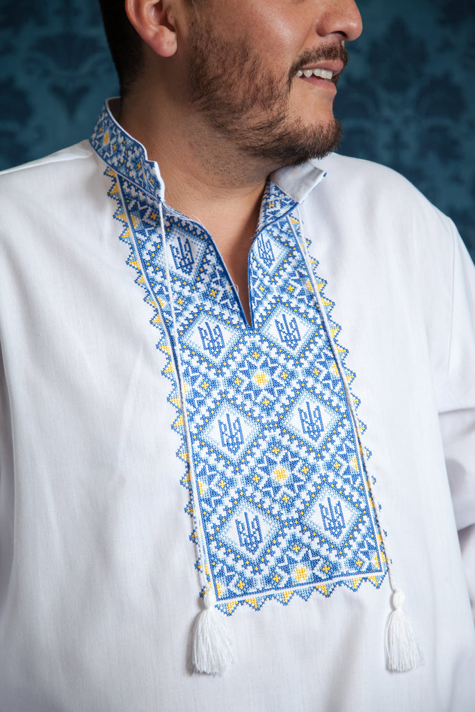 White shirt with blue tryzub accent