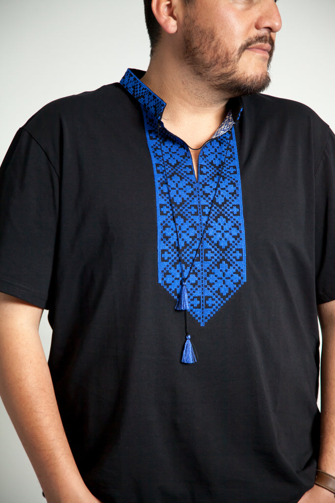Black T-shirt with blue Embroidery