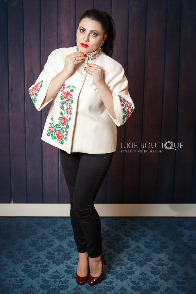 Short White coat with Red and Green Embroidery - Ukie Boutique