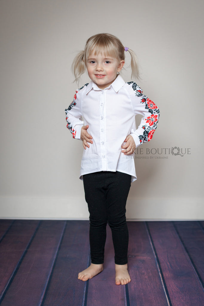 Girl's modern Embroidered Blouse - Ukie Boutique