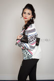 Printed blouse with Black Lace - Ukie Boutique