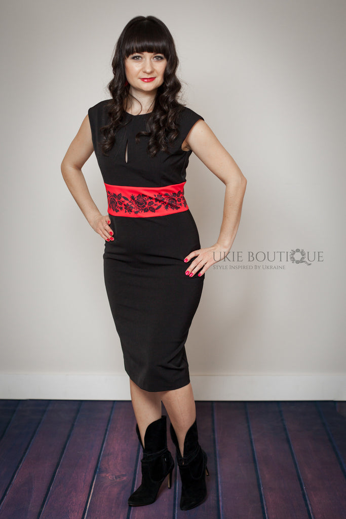 Rose accented fitted dress - Ukie Boutique