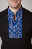 Black T-shirt Blue Embroidery - Ukie Boutique