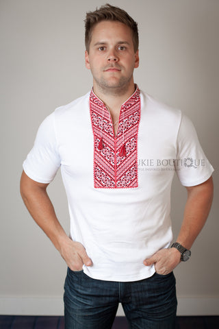 Men's long sleeve white T-shirt with blue or red & black embroidery