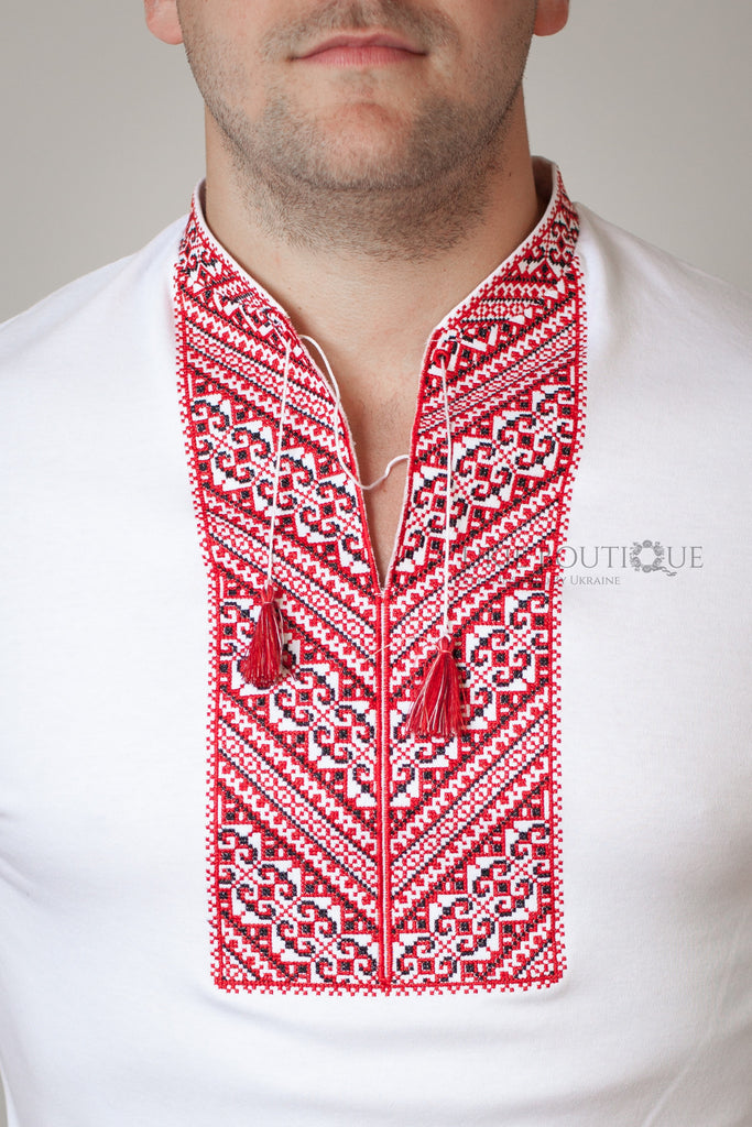 T-shirt with Red Embroidery - Ukie Boutique