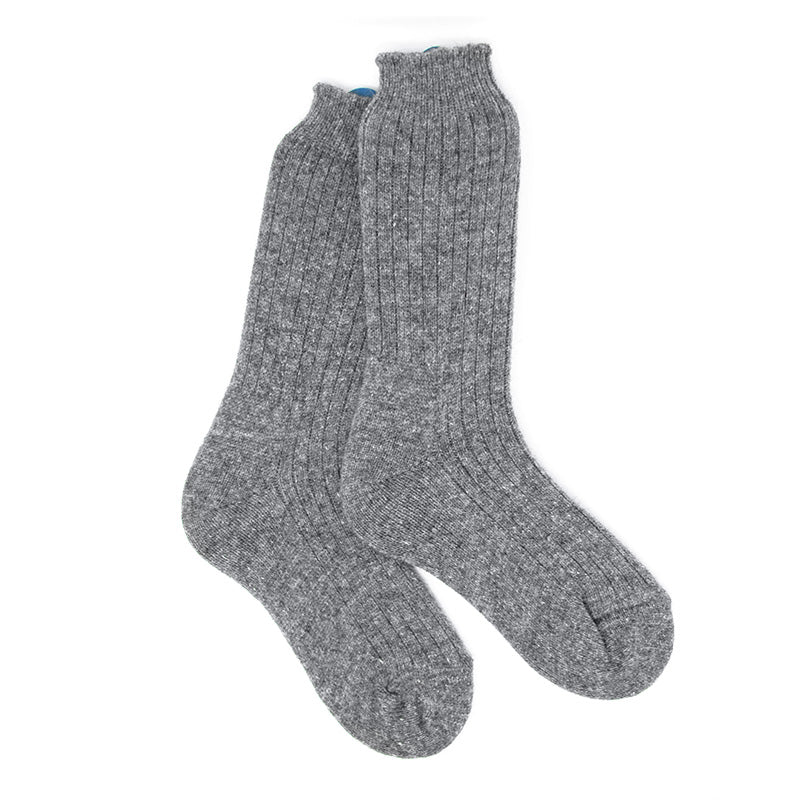 Grey Wool and Angora Winter Socks, Super Warm