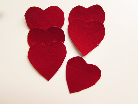 Felted Wool Ruby Red Hearts