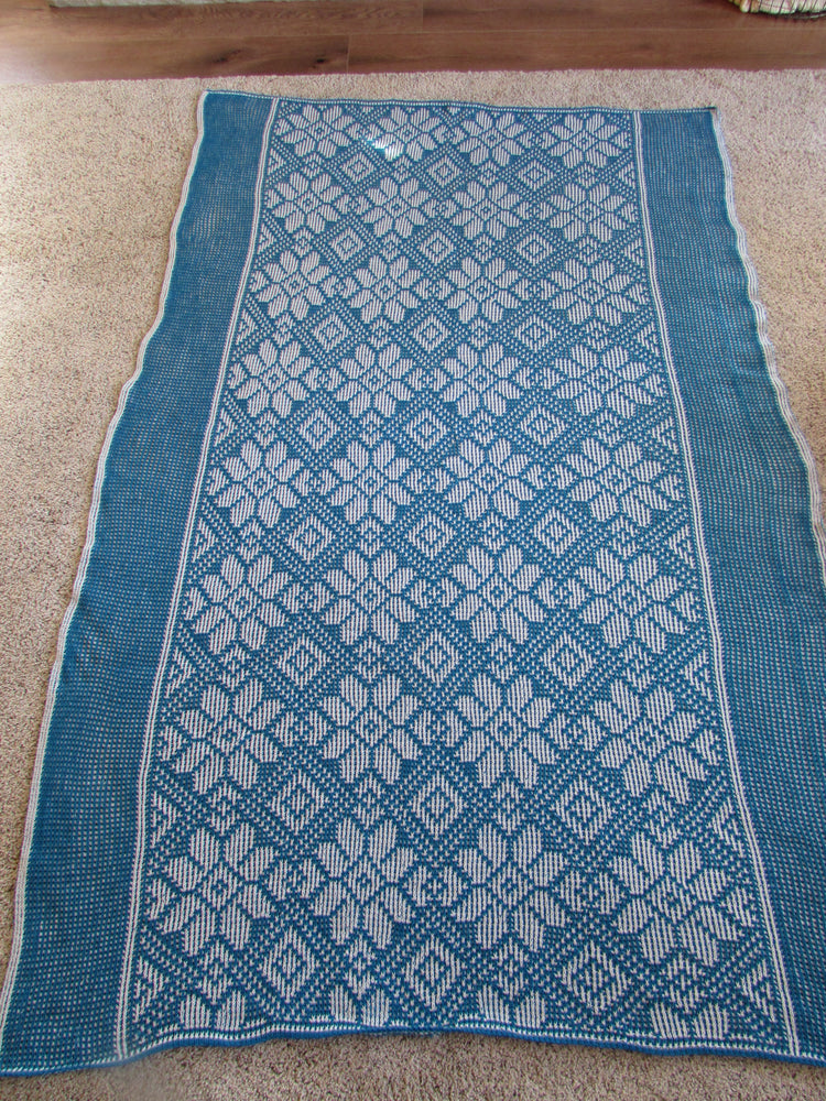 "Flower Diamond Knit Afghan or Lap Blanket, Large Size-50"" x 80"", Free Shipping"