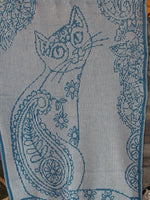 "Scribble Cats Knit Afghan or Lap Blanket, Large Size-48"" x 68"", Free Shipping"