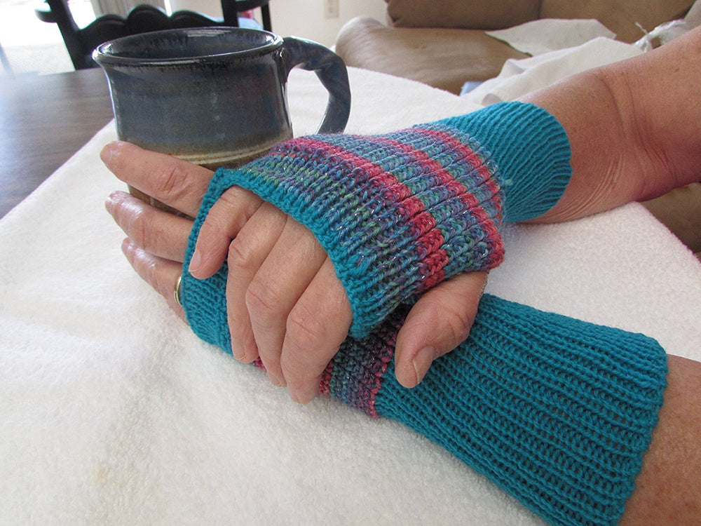 Fun and Colorful Knit Fingerless Gloves, One of a Kind