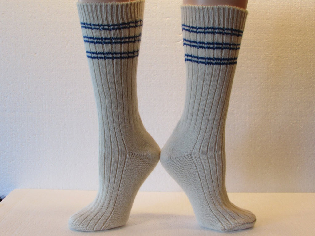 Winter Warm Angora Wool Socks in Cream with Blue Stripes, Free Shipping