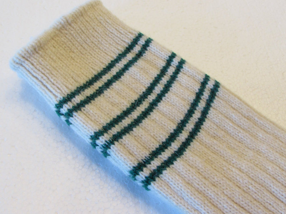 Winter Warm Angora Wool Socks in Cream with Dark Green Stripes, Free Shipping
