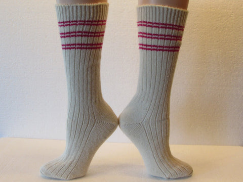 Winter Warm Angora Wool Socks in Cream with Hot Pink Stripes, Free Shipping