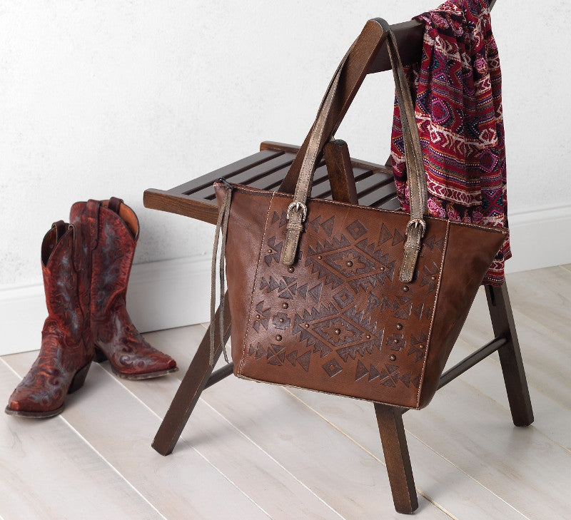 American West Heritage Lives On with the Mystic Shadow Zip Top Bucket Tote from Lufli Boutique