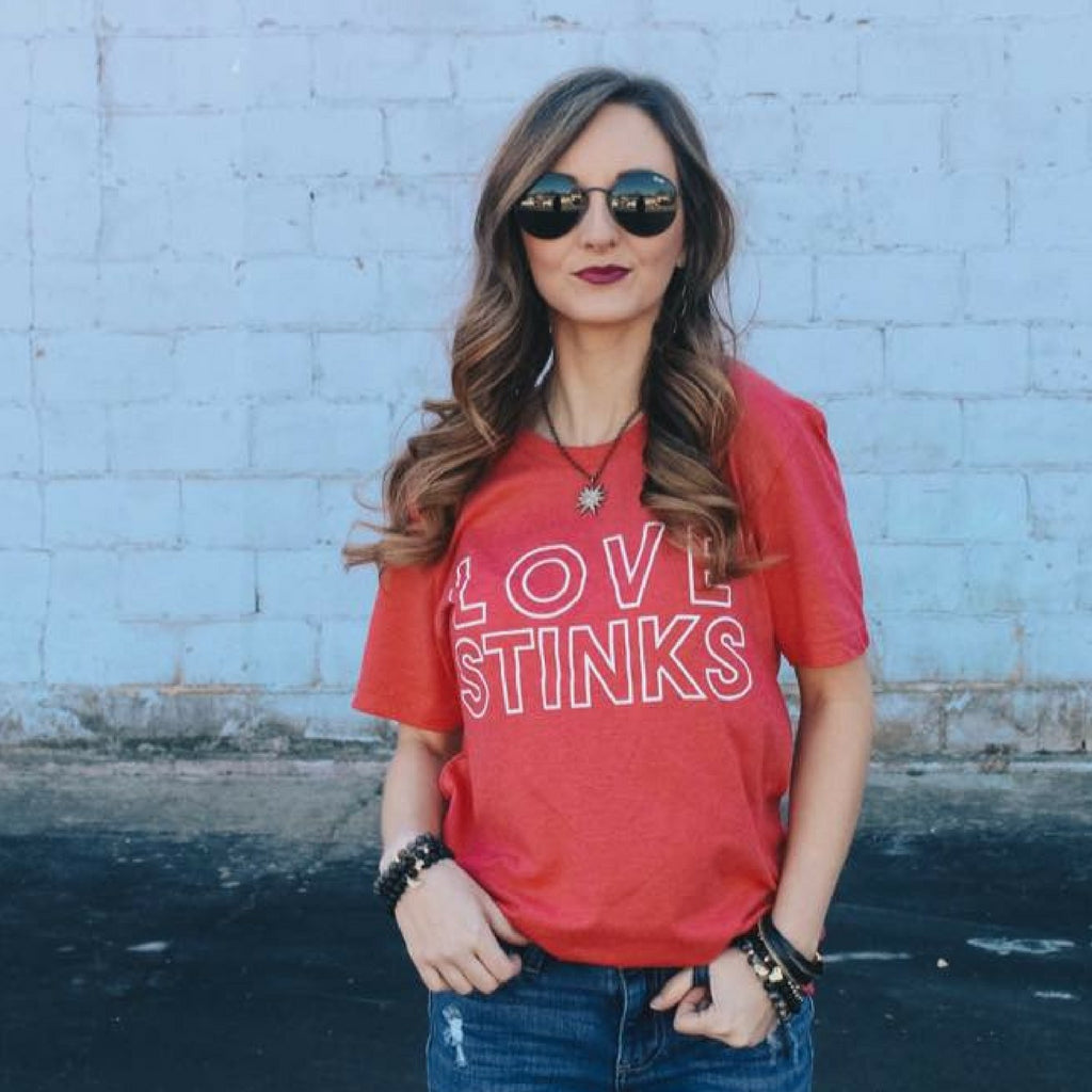 Love Stinks Red Valentines Day Tee Shirt at Lufli Boutique