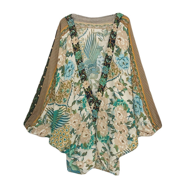 Adalyn Flower and Peacock Cocoon Style Kimono Green