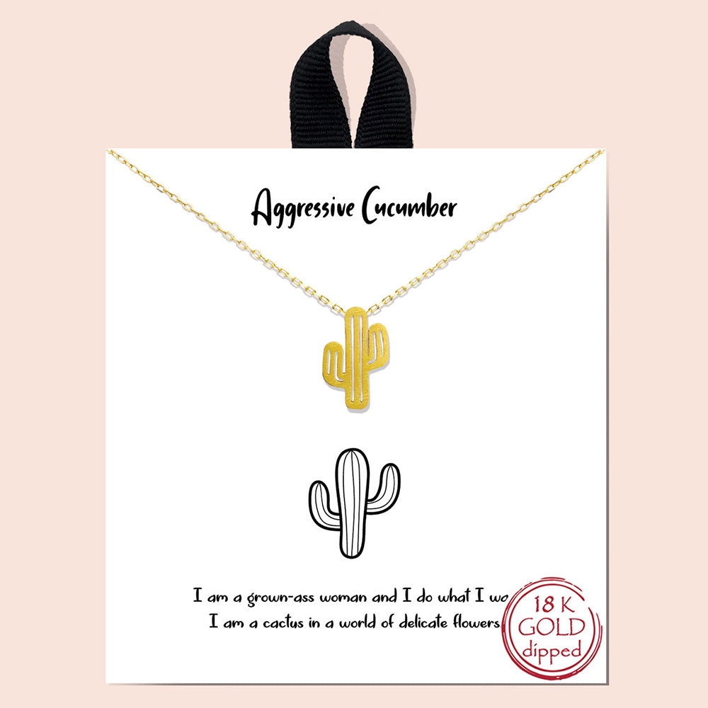 Aggressive Cucumber Cactus Charm Necklace - Gold