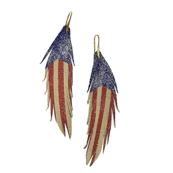 Red White and Blue Short Feather Leather Earring - Stripes