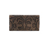 American West Baroque Ladies' Tri-Fold Wallet Front in Charcoal Brown - Lufli Boutique
